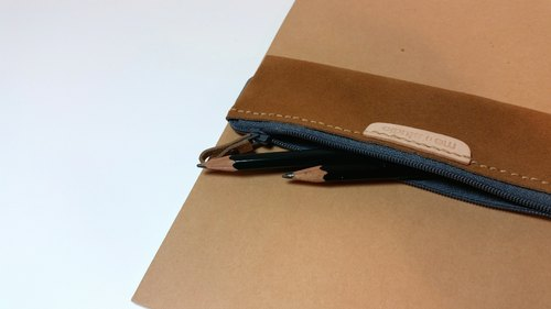 026.5 hand-stitched leather suede beige ribbon Letters Pencil