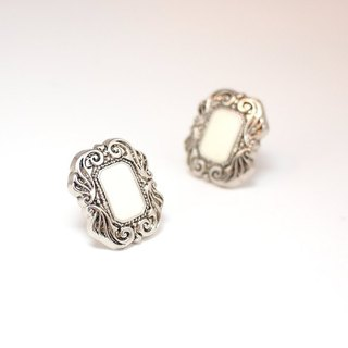 Circle dot Snow White Stainless Steel Earrings 0112