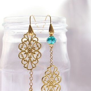 A sheet of Golden Copper with Emerald Crystal Drop Earrings (E625)