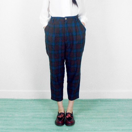 Vintage blue brown checked wool trousers AD1025