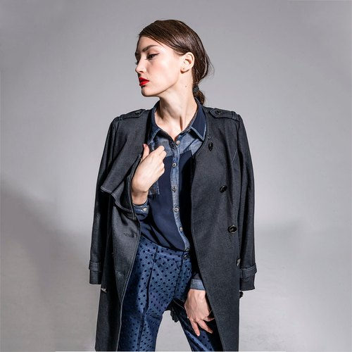 Long collarless coat coats - black NOVI