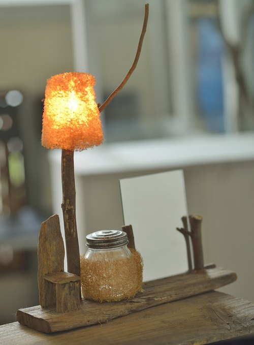 Natural drift wood gourd lamp & mirror