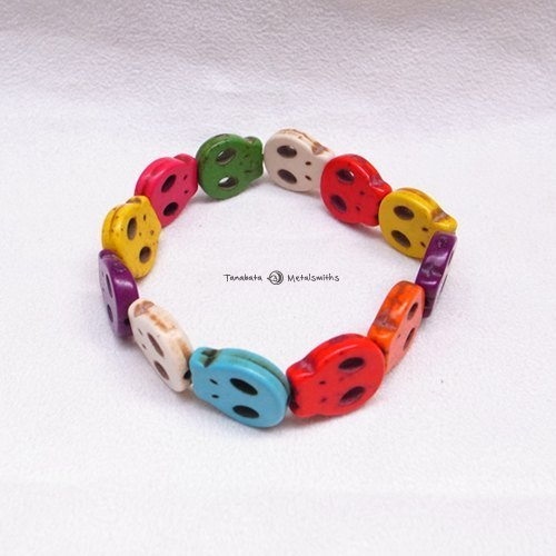 ☽ Qi Xi hand for ☽ [07205] plane cranial skeleton head color bead bracelet