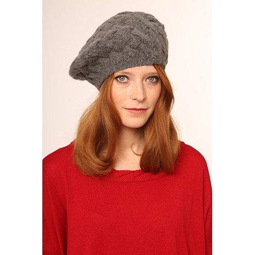 Virgin Wool Cable Beret - Grey