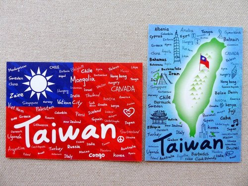 Flag graffiti A + Taiwan graffiti B postcard group (two into)