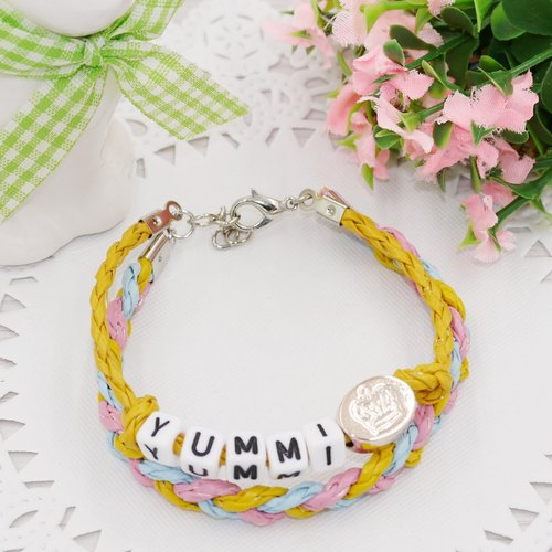 * Poof Princess sugar - woven leather cord bracelet + dice letter (five characters)