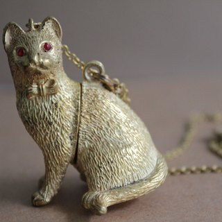 Let the cat help you tell the truth Brass necklace