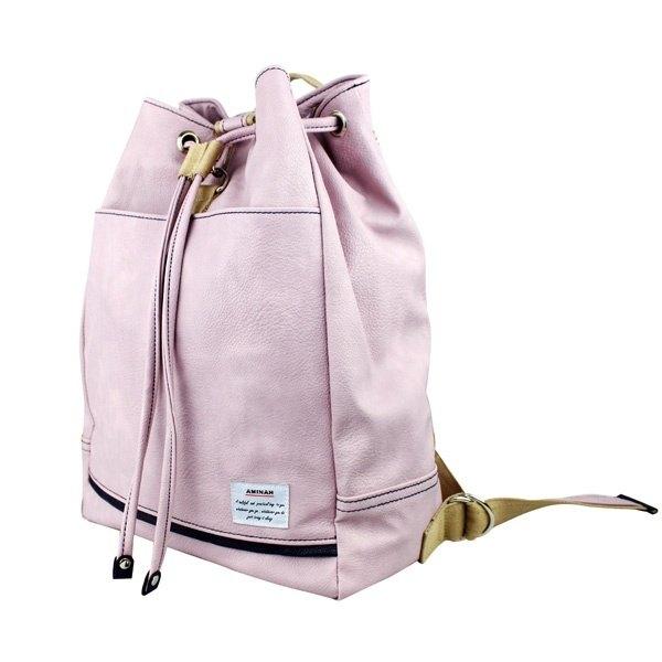 AMINAH-淺紫色束口皮革後背包【am-0214】