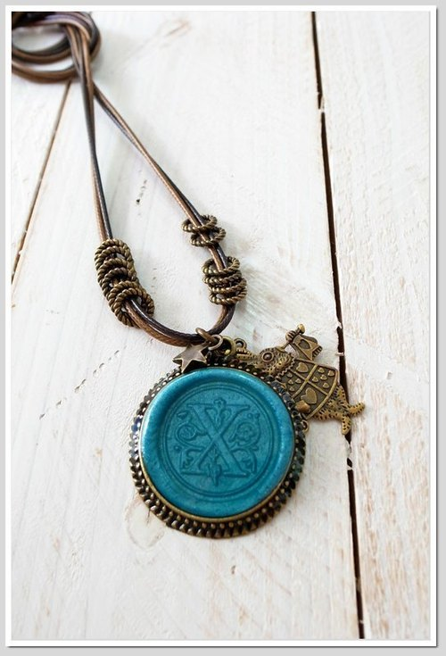 . Travel memories. Fire wax seal double long-chain (letters A ~ I) (can be used with color & amp; letters)