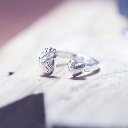 Sterling Silver Anatomical Heart & Heart Shaped Ring, Sterling Silver Heart Ring