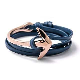 [BIJOUONE] rose gold curved anchor bracelet / neutral nautical sailor wind / send her boyfriend a gift / anchor bracelets / genuine leather bracelet