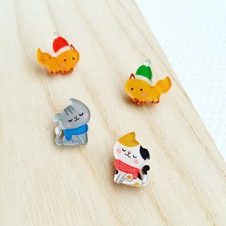Cat raccoon warm winter hand-painted earrings / can be changed ear clip type / free with a pair of