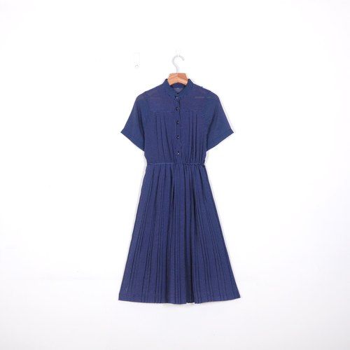 [Egg plant] little fine snow vintage print vintage pleated dress