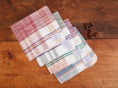 Chahat Gandhi Indian cotton woven plaid handkerchief 001 (the remaining five orange, purple, green and blue bottom diagram)