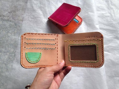 Hamburger wallet _ hand-sewn leather