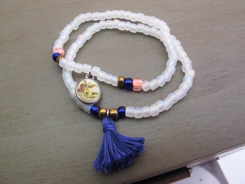 mint neiff- / in the museum date / matte white Japanese pearl tassel bracelet double practice