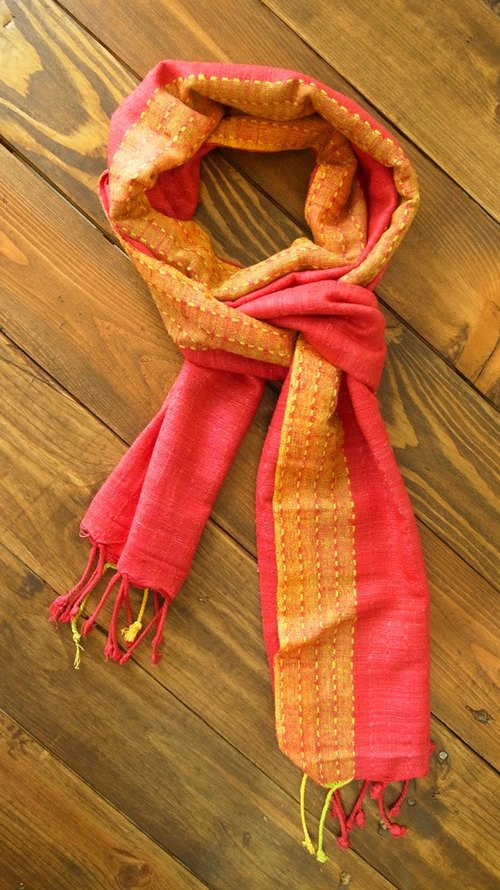 [Music] India beat fair trade hand-woven shawl scarf (magenta)