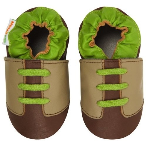 Momo Baby handmade leather toddler shoes - Contrast Sneaker Taupe jogging shoes brown green