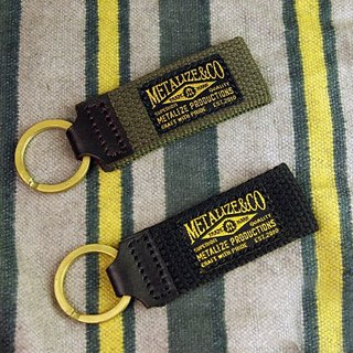 Canvas Leather brass key ring