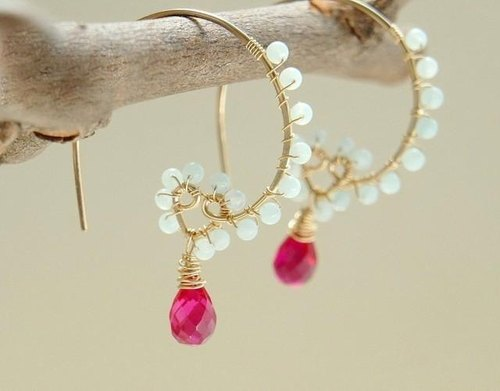 RESERVED magenta pink drop earrings 14kgf