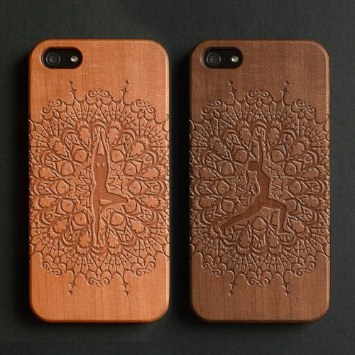 Real wood engraved iPhone 6 / 6 Plus case yoga tree pose warrior pose S023