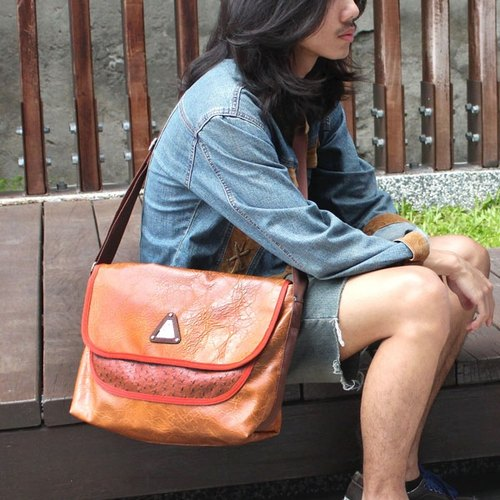 AMINAH- brown collage messenger bags [am-0238]
