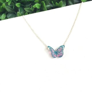 * Haku‧Neko * Blue pattern pink color hand-painted butterfly necklace