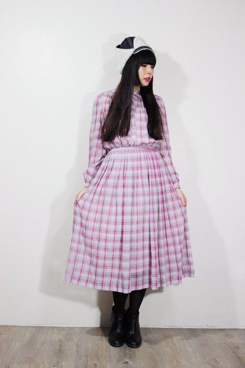 Fairy Farm Factory (Vintage) pink plaid long-sleeved dress bust-breasted