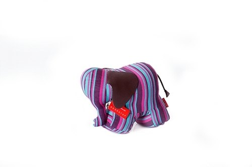 Elephant Art Animal Paperweight - colored stripes
