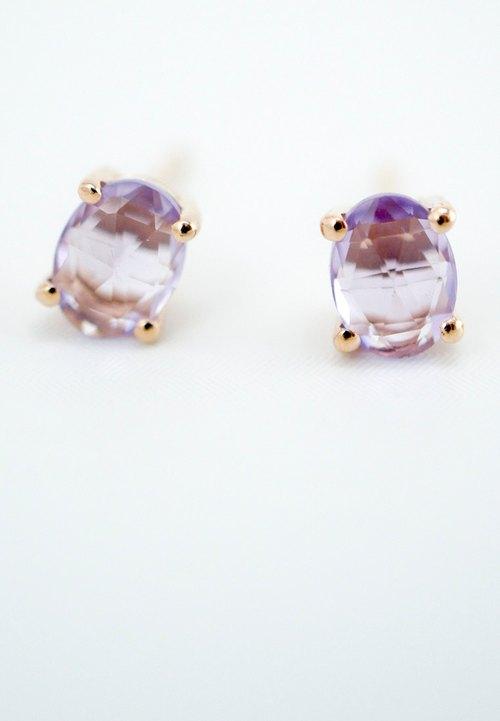 Indulgent - 6x4mm Oval Rose Cut Faceted Amethyst 18K Rose Gold Plated Silver Earring