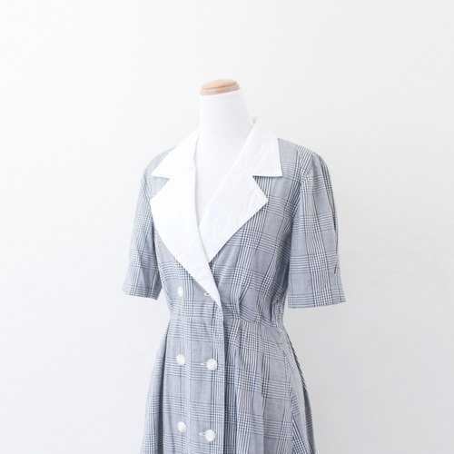 [RE0612D341] retro big lapel double-breasted gray checkered white vintage dress