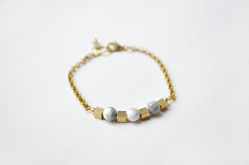 140502 Planet Stories | White turquoise bracelet brass
