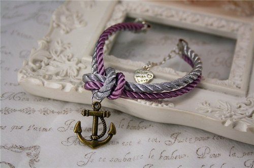 Retro sailor anchor and chain hand woven hand rope silver jewelry purple spell