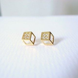 [NU Studio] Geometry Series Stereo Small Square Earrings 925 Silver Ear Pin