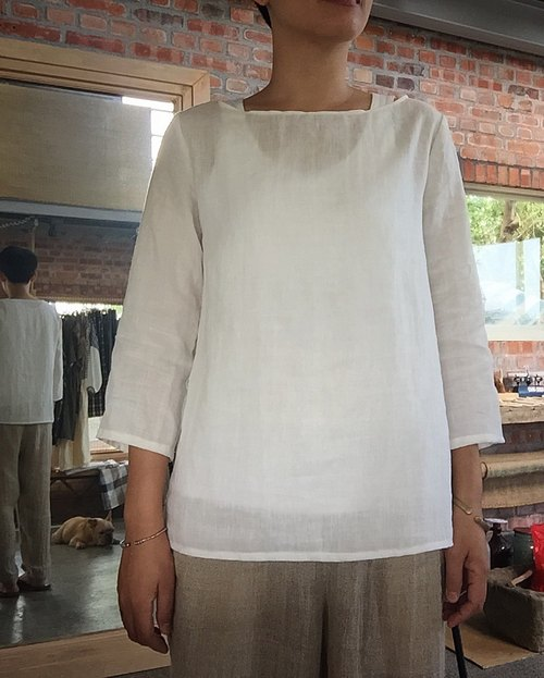 Natural hand-made clothes autumn came Chunma natural enzyme washed ramie sleeve shirt