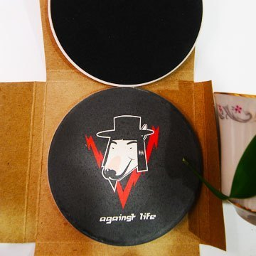 """DNS original design"" Bull Terrier V for Vendetta painted ceramics UV absorbent coaster"