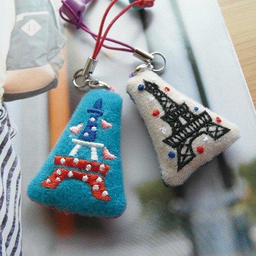 Tower / Bear Mobile Charm scrubbed cloth stuffed with Christmas Birthday Surprise
