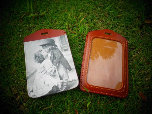 Handmade genuine leather ─baby kiss leather ticket holder / card holder / identification card