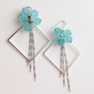 [Order production] earrings / Silver 950 SHIKAKU × icing bonbon: Blue