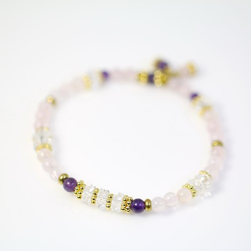 [] ColorDay bright pink and purple pink crystal season ~ + White + amethyst crystal copper bracelet