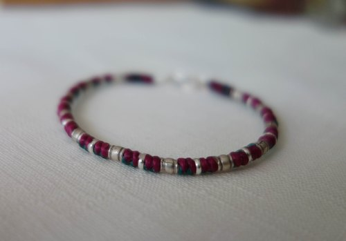 "~ M ~ + Bear ""link"" 925 sterling silver bracelet braided silk thin wax Bracelet"