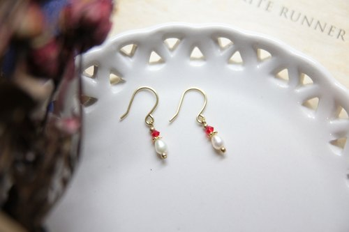 Antik Tour Series / natural pearl, rosy Swarovski Crystal Earrings