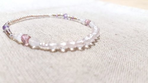 rose quartz crystal in dearsharka || x x powder blue halo Moonstone amethyst. Qin Xuan faint pink soft quiet charm
