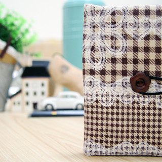 NO.08-Lace, coffee, plaid / / 08th passport cover / universal bag