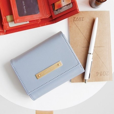 Dessin x Iconic-Zipup modern triple short wallet - baby blue, ICO80763