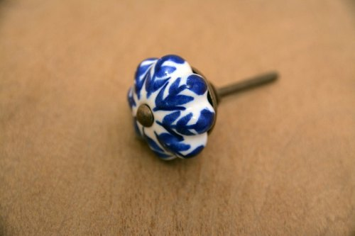 Ceramic doorknob blue flowers _ _ fair trade