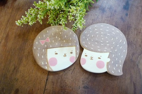 Punk head with absorbent coaster bob cut pair