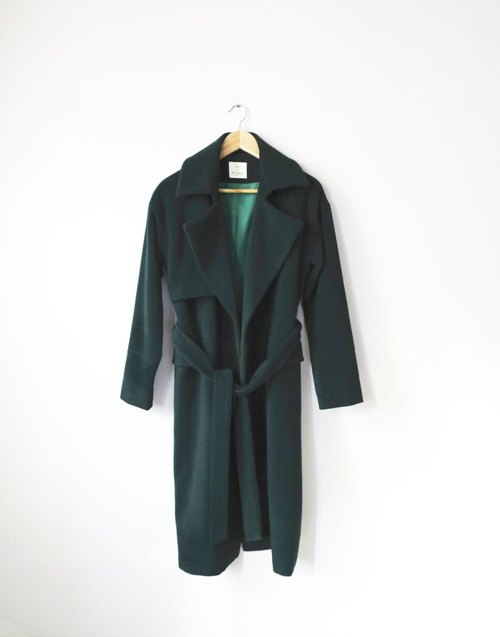Black / green forest belt wool coat (5% Kashimier wool / while other color choices)