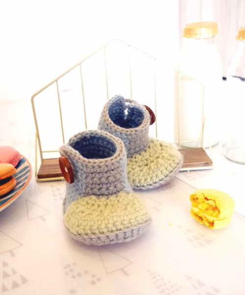 Handmade knit baby shoes - hit the color long-barreled shoes (shoes flour green)
