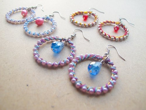 Mimi & Gogo + colorful folk style earrings wound